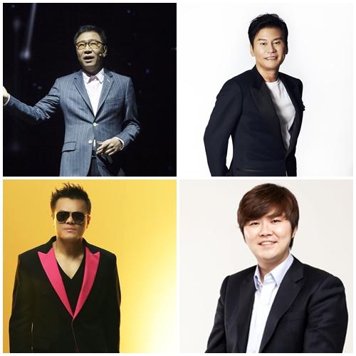 SM, YG, FNC, JYP 수장들인 이수만 양현석 한성호 박진영(왼쪽 위부터 시계 방향, 사진출처=각 회사)