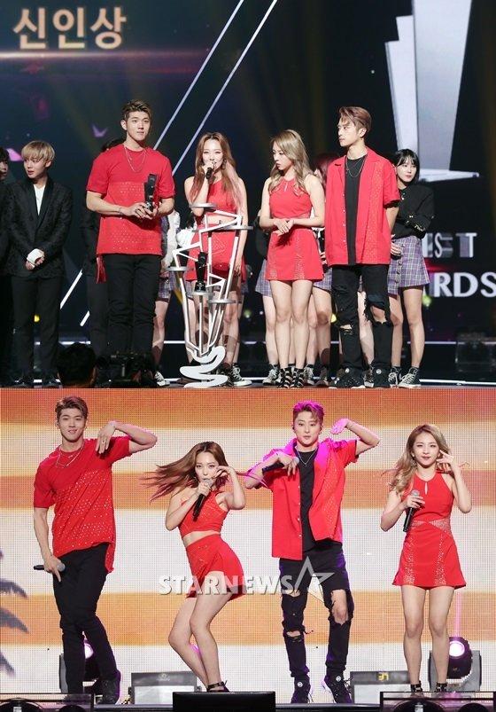 2017 Asia Artist Awards(아시아아티스트어워즈, AAA)에서 신인상을 받은 KARD(위)와 공연 모습 /사진=김창현 기자, 김휘선 기자