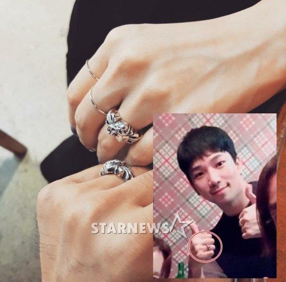 최예슬 SNS(큰 사진)와 지인 연말 모임 사진 속 지오의 모습. 오른손 약지에 낀 반지가 눈길을 끈다.