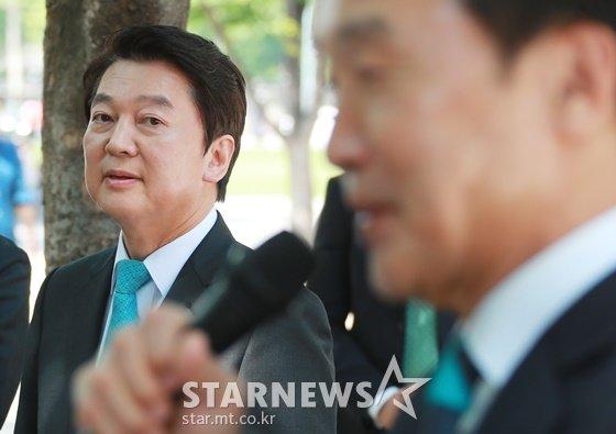 안철수 바른미래당 서울시장 후보, 손학규 상임선대위원장/사진=머니투데이