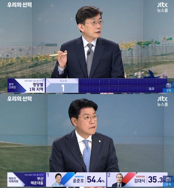 손석희 JTBC 뉴스룸 앵커(위), 장제원 자유한국당 의원/사진=JTBC 뉴스룸 방송화면