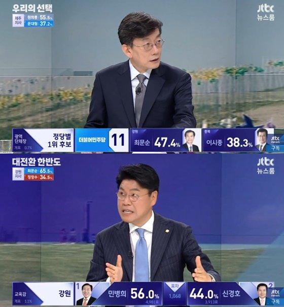 손석희 앵커(위), 장제원 자유한국당 의원/사진=JTBC 뉴스룸 방송화면