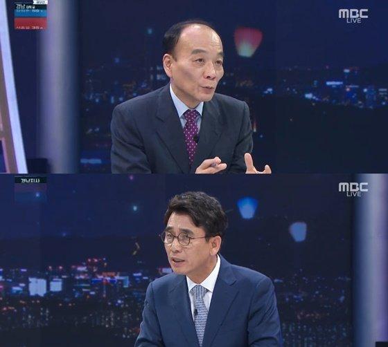 전원책 변호사, 유시민 작가/사진=MBC \'선택 2018\' 방송화면