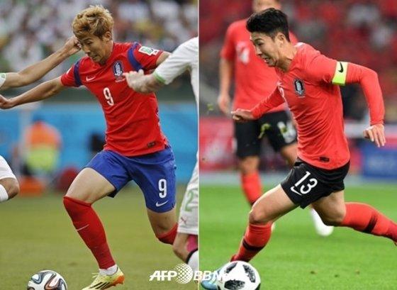 2014 브라질 월드컵 당시 손흥민(왼쪽)과 2018년 손흥민(오른쪽) /AFPBBNews=뉴스1