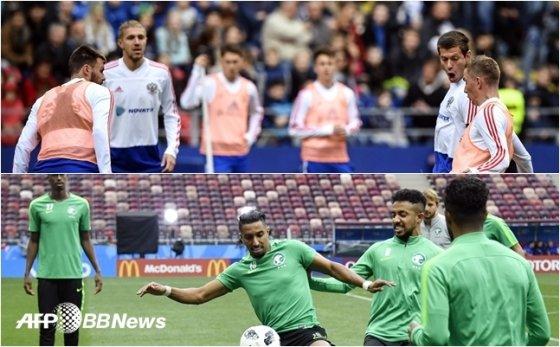 경기를 하루 앞두고 적응 훈련을 펼친 러시아 대표팀, 사우디아라비아 대표팀(위쪽부터) /AFPBBNews=뉴스1