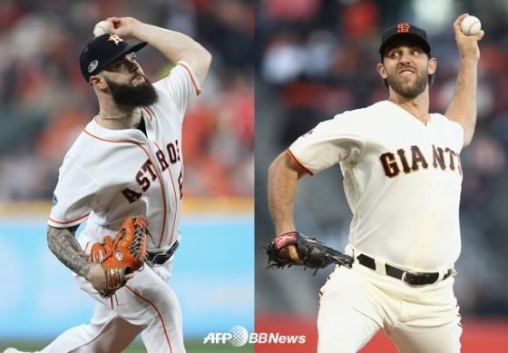 댈러스 카이클(왼쪽)과 메디슨 범가너. /AFPBBNews=뉴스1