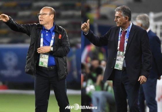 베트남 박항서(왼쪽) 감독과 이란 카를로스 케이로스 감독. /AFPBBNews=뉴스1
