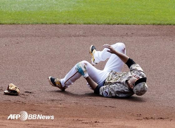 부상을 당한 피츠버그 강정호. /AFPBBNews=뉴스1