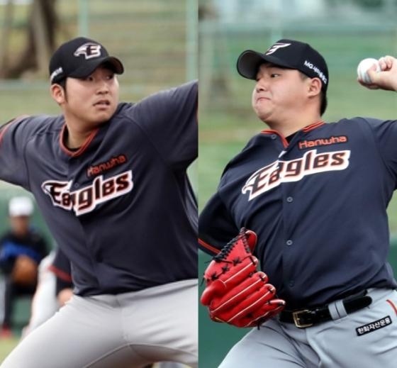 김민우(왼쪽)와 박주홍./사진=한화 이글스