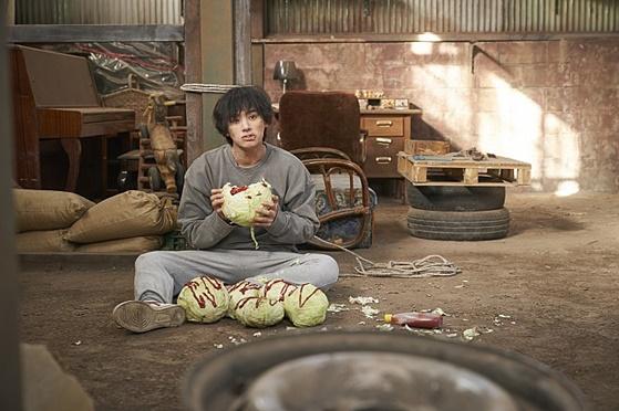 양배추 먹는 정가람 / 사진='기묘한 가족' 스틸컷