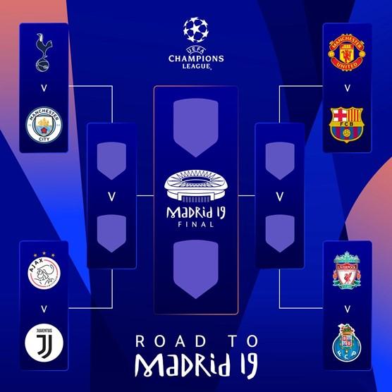 UEFA 챔피언스리그 8강 대진표./사진=UEFA 홈페이지