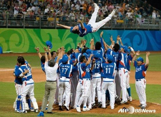2008 베이징 올림픽 전승 우승 때도 메이저리그 선수들은 없었다. /AFPBBNews=뉴스1