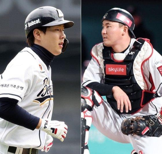 두산 박건우(왼쪽)와 KT 장성우.  /사진=OSEN