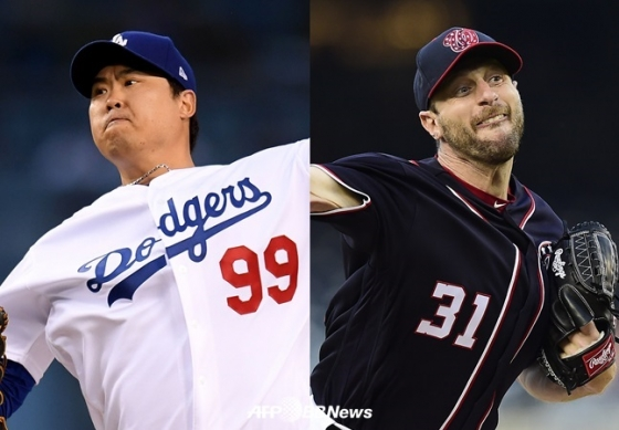 LA 다저스 류현진과 워싱턴 내셔널스 맥스 슈어저. /AFPBBNews=뉴스1