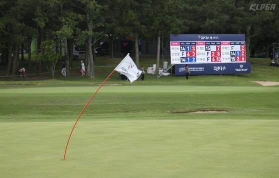 10일 2라운드, 강풍에 휘청이는 18번홀 그린의 깃대./사진=KLPGA
