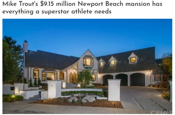 트라웃이 915만 달러 저택으로 이사했다고 MLB.com이 14일 보도했다. /사진=MLB.com 캡처