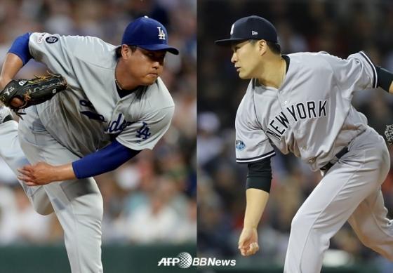 LA 다저스 류현진(좌)과 뉴욕 양키스 다나카 마사히로. /AFPBBNews=뉴스1