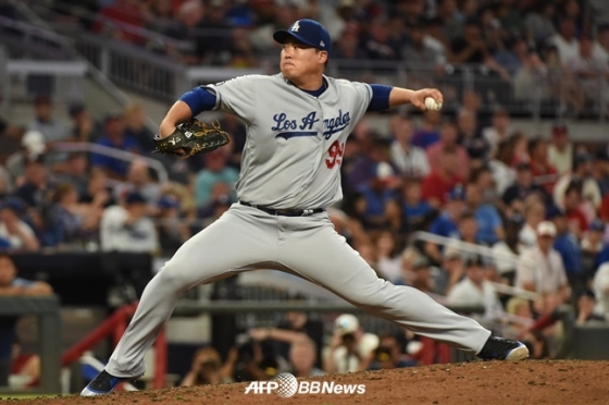 18일 애틀랜타 원정 경기에 등판한 LA 다저스 류현진. /AFPBBNews=뉴스1