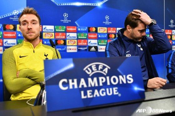 크리스티안 에릭센(왼쪽)과 마우리시오 포체티노 토트넘 감독. /사진=AFPBBNews=뉴스1