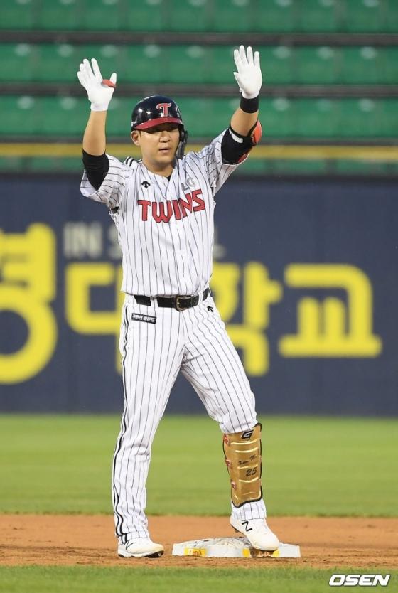 21일 잠실 KIA전에서 1안타 2타점 2득점 2볼넷으로 활약한 김민성.