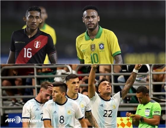 11일 페루전에 교체 출전한 브라질 네이마르(상단 우측), 같은날 멕시코전에 득점 후 기뻐하는 아르헨티나 선수들(아래). /AFPBBNews=뉴스1