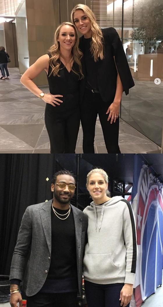 엘레나 델레 도네(위·아래 사진 모두 오른쪽). 아래 사진에는 NBA 워싱턴 위저즈의 가드 존 월의 모습도 보인다. /사진=엘레나 델레 도네 인스타그램 캡쳐