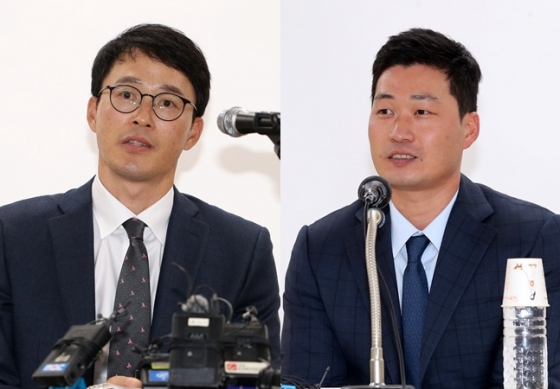 삼성 라이온즈 허삼영 감독(좌)과 오승환. /사진=삼성 라이온즈 제공