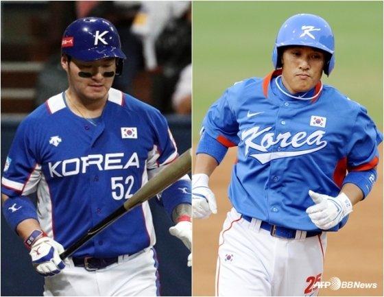 프리미어12에서 4번 타자인 박병호(왼쪽)와 2008 베이징 올림픽에서의 이승엽. /사진=뉴스1, AFPBBNews=뉴스1