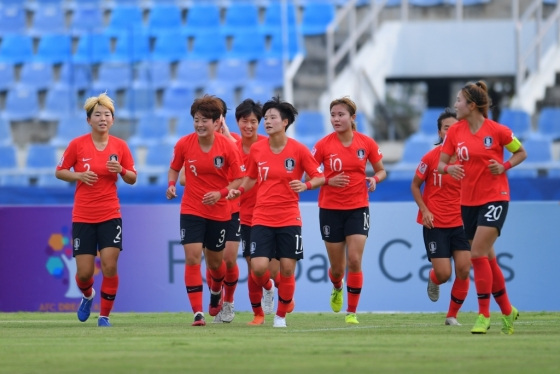 한국 U-19 여자 축구 대표팀 선수단. /사진=AFC 제공(대한축구협회)