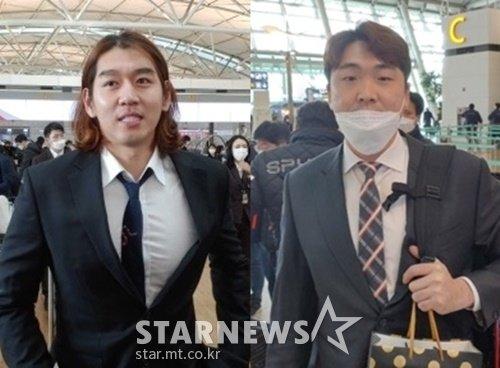 스프링캠프 출국을 앞두고 만난 KT 이대은(왼쪽)과 LG 이형종. /사진=한동훈 기자