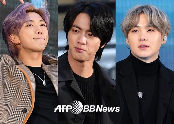 방탄소년단 RM, 진, 슈가(왼쪽부터) /AFPBBNews=뉴스1