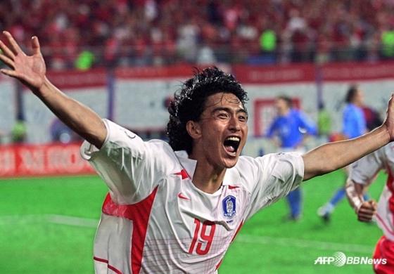2002 한일 월드컵 이탈리아와 16강전서 골든골을 넣은 안정환. /AFPBBNews=뉴스1