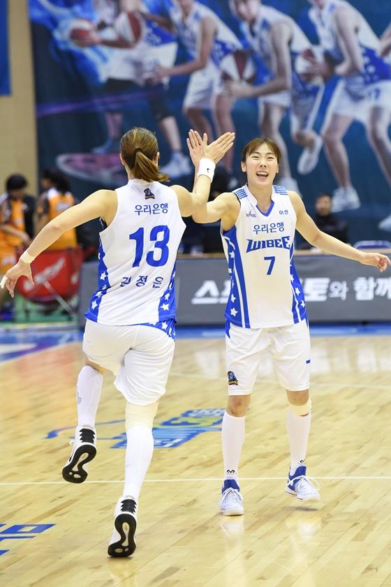 김정은(왼쪽)과 박혜진. /사진=WKBL
