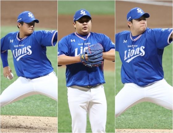 최지광(왼쪽부터), 노성호, 이승현. /사진=삼성 라이온즈 제공