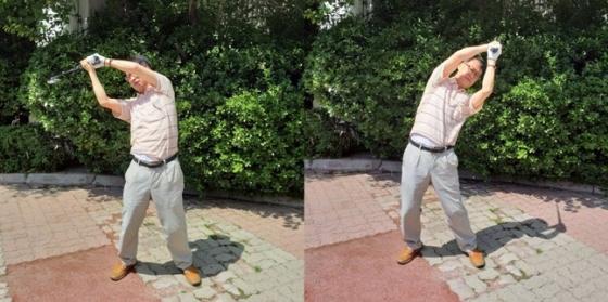 롱 아이언 두 개를 이용해 어깨 힘 푸는 방법. 왼쪽, 오른쪽횟수를같이해야한다.  /사진=필자 제공
