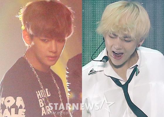 2013년 6월 12일 방탄소년단 데뷔 쇼케이스 당시 19세 뷔의 모습(왼쪽)과 현재의 뷔 /사진=스타뉴스