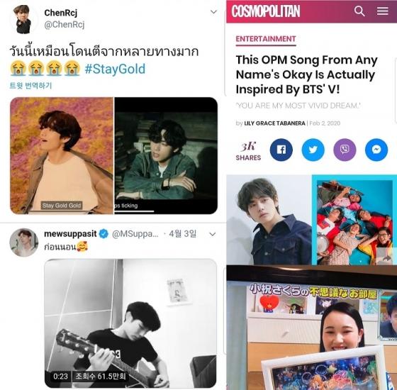 """'아이돌의 교과서' 방탄소년단 뷔, 해외 셀럽들도 """"나의 최애♥"""""""