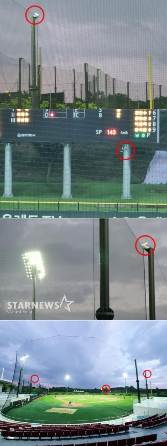 (위부터) 3루-전광판 아래-1루 쪽에 설치된 로봇 전용 투구 추적 카메라(빨간색 원) 및 경기장 전경. /사진=김우종 기자