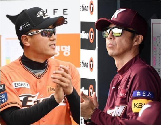 최원호 한화 감독 대행(왼쪽)과 손혁 키움 감독. /사진=OSEN