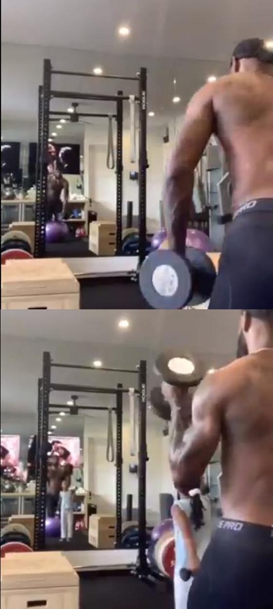르브론 제임스의 웨이트 훈련 영상. /사진=미국 클러치 포인트 영상 캡처