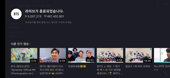 방탄소년단 지민, V라이브 33분만에 900만명↑ 4억8500만♥..주간 일간 1위+세계 트렌드 장악