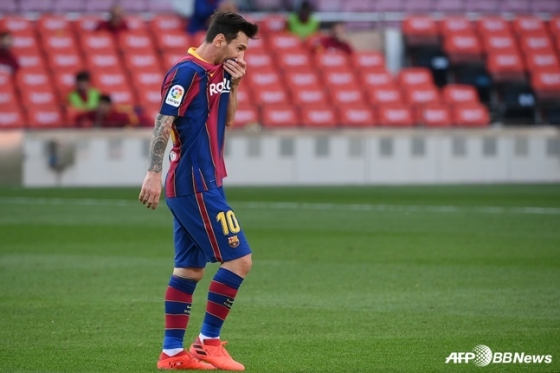 레알 마드리드와 '엘 클라시코'에서 7경기째 득점이 없는 바르셀로나 리오넬 메시. /AFPBBNews=뉴스1