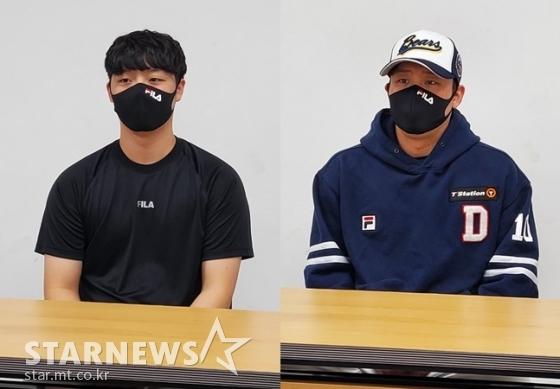 두산 베어스 투수 박치국(왼쪽)과 포수 박세혁. /사진=김동영 기자
