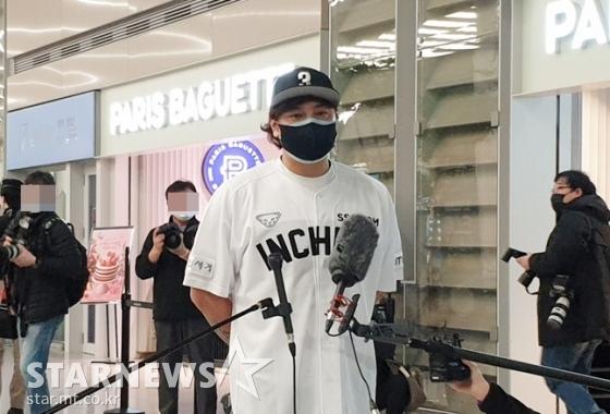 25일 인천국제공항을 통해 입국한 추신수./사진=심혜진 기자