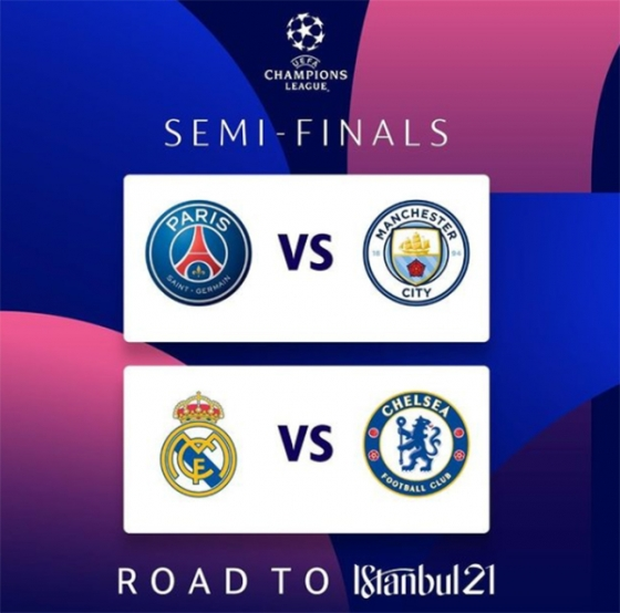 2020~2021 UEFA 챔피언스리그 4강 대진표. /사진=UEFA 챔피언스리그 SNS 캡쳐