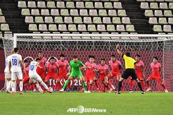 25일 일본 이바라키 가시마 스타디움에서 열린 루마니아와 도쿄올림픽 남자축구 조별리그 B조 2차전에서 간접 프리킥 수비를 하고 있는 한국 선수들. /AFPBBNews=뉴스1