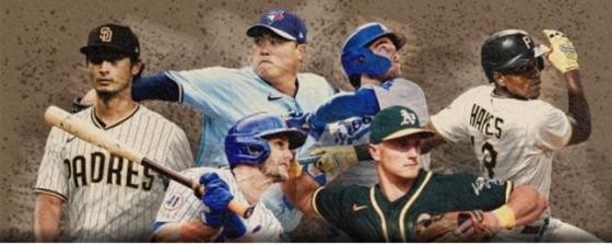MLB.com 메인 화면에 소개된 류현진(위 왼쪽 2번째).  /사진=MLB.com 캡처
