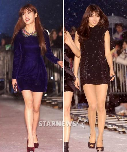 [★포토]'국민여동생' 아이유-수지, 아찔한 초미니!