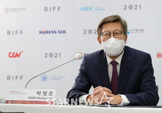 제26회 BIFF 개최 기자회견 참석한 박형준 시장[★포토]
