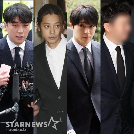 (왼쪽부터) 승리, 정준영, 최종훈, 유리홀딩스 유인석 대표 /사진=스타뉴스, 뉴스1